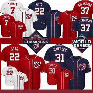22 JUAN SOTO Nationals Jersey 7 Trea Turner 37 Stephen Strasbourg 31 MAX SCHERZER 2019 2020 22019 2020 nouveau Baseball Jerseys