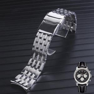 Reloj pulsera de acero inoxidable sólido de alta calidad 22mm 24mm final Cruved Para Breitling