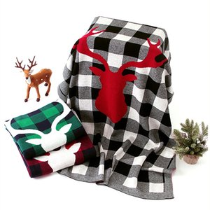 Baby Blankets Christmas Plaid Swaddle Blanket Elk Knitted Air Conditioning Blanket Newborn Bath Wrap Bedroom Playmats 3 Colors DW4435