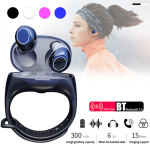 2'si 1 Kablosuz Kulaklık HM50 TWS Akıllı Spor İzle Bileklik Bluetooth 5.0 Smartband Kulaklıklar Kulaklık Bilezik Airdots Kılıf