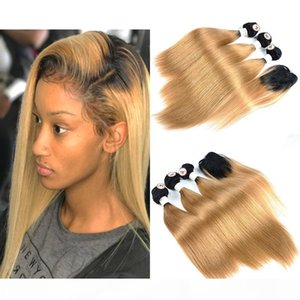 Cheap New Hairstyle Ombre Colored Human Hair 3 Bundles With Top Lace Closure Straight 1B 27 Ombre Honey Blonde Total Weight 190-235g Lot
