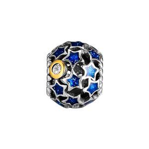 Ouro Night Sky azul do cometa charme estrela frisada para Bracelet Genuine 925 Sterling Silver Pandora Magia Curse Pulseira céu nocturno ocas Beads