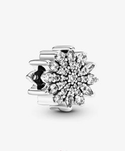 925 Sterling Silver Beads Sparkling white Daisy Charm Charms Fits European For Pandora Style Jewelry Bracelets & Necklace 6602256366