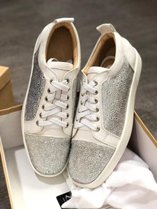 2019 Designer fashion hococal Red Bottoms shoes Studded Spikes Flat sneakers glitter Party Lovers Genuine Leather casual rivet Sneaker