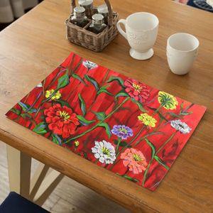 Fuwatacchi الزهور الجدول حصيرة الديكور تحديد الموقع مطبخ ماء ماتس الكتان العزل وسادات مطعم المائدة والمناديل