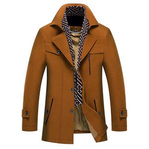 Tasarımcı Erkek Kalın Yün Palto Katı Kasetli Erkek Şal Yaka Coat Moda Düğme Dekorasyon Homme Kış Palto