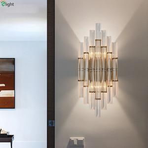Modern Luster Kristal Led Duvar Lambası Altın Metal Yatak Odası Lamba Fikstür Salon Led Duvar Işık Koridor Aplik