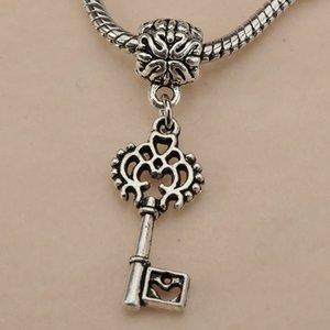 Charms Beads DIY Bracelets Necklaces Pendants Dangles Keys Heart Retro Silver Slider Large Hole Metal Jewelry Craft Fittings 50pcs