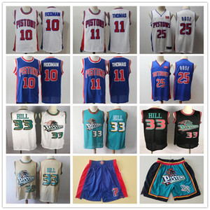 Mens DetroitpistonesRetroceso de Grant 33 Colina Isiah Thomas 11 Dennis Rodman 10 Derrick Rose 25 Baloncesto pantalones cortos de baloncesto jerseys