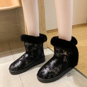 Sıcak satış-Sıcak Artı Kadife kar botları Kadınlar Bilek Boots Casual kaymaz su geçirmez Kısa Patik Bayanlar 2019 Metal Dekorasyon