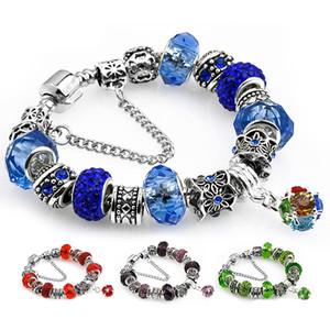 New Pandora Charm Armbänder für Frauen-Mädchen-Weinlese-Antike-Silber-Rosa Blau Grün Rot Lila Kristall-Diamant-Design Perlen Schmuck Armbänder