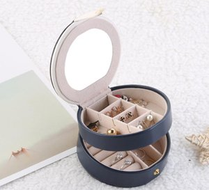 Jewelry Box PU Leather Jewelry Box Case Storage Faux Leather Medium Jewelry Organizer 2 Layer Holder for Earring Ring Necklace gift case