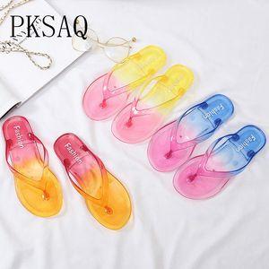 PKSAQ Renk Şeffaf Yaz Plaj Çevirme Sandalet kadın Terlik Kadın Düz Sandalet Bayanlar Slaytlar Için Çevirme