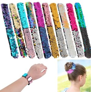 Heiße Verkauf Mädchen Sequin-Armband Glitter Slap-Nixe Paillette Armbänder Charms-Armband für Kinder 10 Styles Slap-Snap-Armband M725