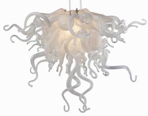 Лампы дизайна чисто белый свадебный декор мелкие хрустальные люстры светодиодные источник света ручной узор муранской стеклянной кулонкой люстра