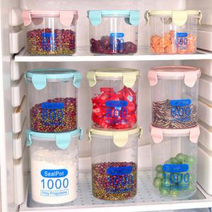 مطبخ حفظ الأغذية شفاف علب مختومة مع غطاء من البلاستيك تخزين الحبوب علب وجبة خفيفة صندوق تخزين 600ML / 800ml / 1000ML CCA11774-A 200PCS