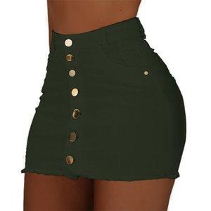 Denim Skirt High Waist Mini Skirts Women 2019 Strench High Waist Solid Skirt Summer Button Denim Short Mini Jeans