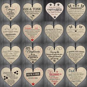 17styles attaccatura di legno Cuore Plaque Carino regalo di giorno di San Valentino Segno di nozze Decorazione per feste dell'albero di Natale a sospensione