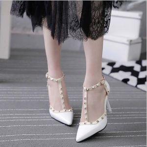 ZHENZHOU 10CM Pumps 2020 Women's shoes Summer fashion female sandals rivet Metal decoration pu leather style women high heels Y200702