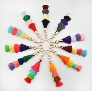 Individual color multi-layer ice silk fringe pendant BohemianBeads Ice Silk Tassel Keychain Keyring Car Key style key chain fringe wholesale