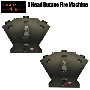 2pcs / lot Triple Tead Fire Machine d'incendie pour Effet de la Partie Liglead DMX Firht 3 He Machine Flame Up 1-3 mètres Fire Machine Projecteur Channel 4