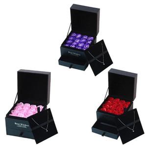 16pcs Rose roja cuerpo del baño perfumado jabón de maquillaje caja de regalo de San Valentín