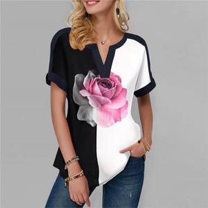 Camiseta para mujer atractiva del verano Flores de impresión de manga corta señoras de las tapas flojas ocasionales de cuello en V Ropa para mujeres