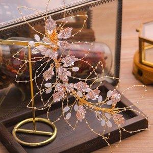 Joyería hecha a mano de la armadura de las hojas de cristal de novia de la boda Hairband accesorios vestido de las mujeres del pelo pelo de la boda