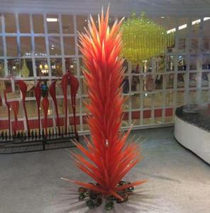 Commercio all'ingrosso grande mano soffiato Scultura Vetro Albero Lampade a stelo arancione Vetro di Murano Garden Park conifera Glass