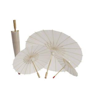 Baile de la boda de bambú blanco Paraguas de papel del parasol Mini Craft chino nupcial del partido de la decoración DIY en blanco Handmake paraguas 20,30,40,60cm Diámetro