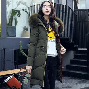 2020 Parkas High Quality Wadded Cotton Coat Female Slim Fur Collar Hooded Parka Winter Jacket Women Abrigo Mujer WXF202