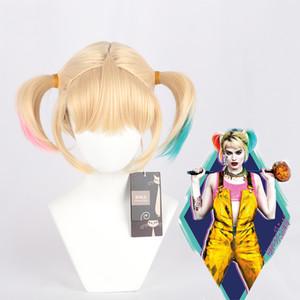 Фильм косплей WIG Harley Quinn градиент синий розовый хвост COS парик