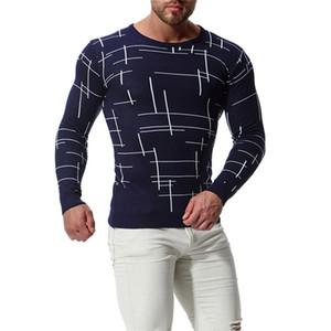 Hommes Printemps numérique imprimé Pull décontracté ras du cou à manches longues Vêtements Pulls loose style simple