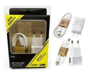 Cavo USB 2 in 1 caricatore a muro Kit UE US 5V 2A parete caricabatterie adattatore caricatore della casa + 1M 3 piedi micro con l'imballaggio al dettaglio per Samsung S6 S7