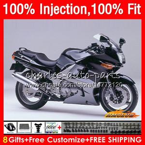 Injection Pour KAWASAKI ZZR400 ZZR400 99 00 01 02 03 04 05 06 07 85HC31 ZZR 400 1999 2000 2001 2002 2003 2004 2005 2007 argent noir Carénage