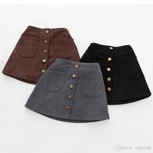 Faldas de tutú para niñas Falda de tutú con botones sólidos Falda de primavera y verano para niñas Ropa de niños Faldas de niña pequeña de pana