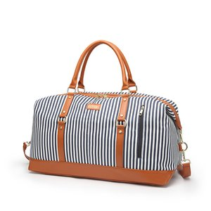 Lucky2019 Will Stripe Capacity Travelling More Function Portable Short Tourism Luggage Package Tide Woman Bag