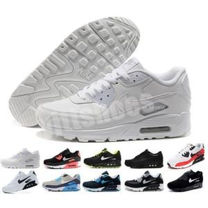 Nike Air Max 90 Calçado masculino clássico 90 Sapatos Masculino e feminino Preto Vermelho treinador branco almofada de ar superfície Sapatos Casuais respiráveis 36-45 Y0036