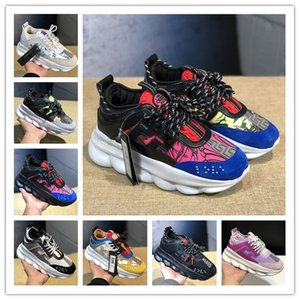 2018 erkek casual ayakkabı moda klasik erkek yükseklik artan zincirler sneakers kadınlar kalın platform ayakkabılar creepers kadın rahat daireler tenis
