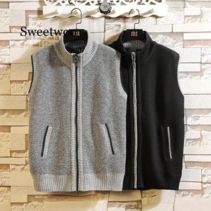2020 Autumn Winter Men's Wool Sweater Vest Thick Warm Casual Sleeveless Jackets Sweatercoat Cashmere Male Knitted Fleece Vest