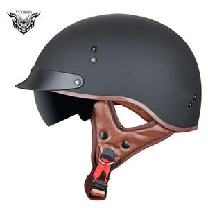 VCOROS F-02 Новый ретро Урожай открытым лицом мотоциклетный шлем Скутер Человек Женщина Половина лица каско Мото шлем Мото DOT aprroved