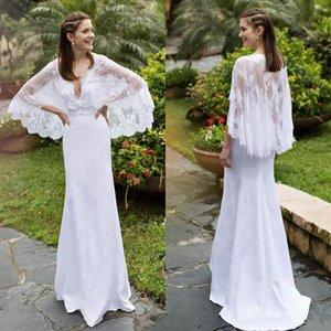 Summer Lace Beach Wedding Dresses Batwing Sleeves Deep V Neck Floor Length Vestidos de Noiva Garden Bridal Gowns Robe De Mariee