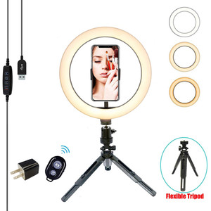 """10.2"""" Selfie Ring Light with Flexible Tripod Stand & Cell Phone Holder,Mini Desktop LED Lamp Dimmable Beauty Ringlight for Live Stream Makeu"""