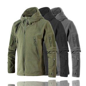 Men Polar Fleece Jacket Autumn Winter Tactical Soft Shell Sports Hooded Outerwear Outdoor Hiking Amy Green Coat CYF038