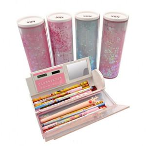 2019 Newmebox Half Quicksand полупрозрачный Креативный Многофункциональный цилиндрический ИПЕН Pencil Box, Канцелярские принадлежности, ручки Карандаш держатель