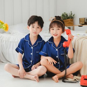 2020 New children's pajamas Satin Silk Pajamas Set Kids Baby Boy Girl Clothes Summer Short Sleeve Shirt Tops +Shorts Sleepwear