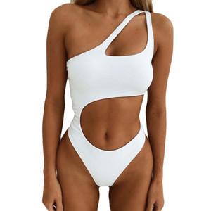 Maillots de bain Femme Blanc Maillot une pièce Femmes 2019 Costume de natation solide pour Femmes évider Sexy Maillot de bain Maillots de bain pour femmes