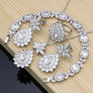Natural Zircon Beads 925 Silver Jewelry Sets Wedding Accessories For Women Earrings Rings Bracelet Necklace Kits Dropshipping