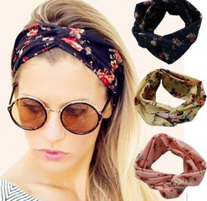 36 Colors Rose Headband With Knot Flower Printed Bohemia Hair Band Accessory Lady Girl Fashion For Women Elastic Ins Hair Cross Tie