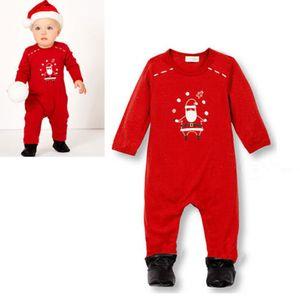 1PCS du nouveau-né fille de garçon de Noël Romper Jumpsuit One-Piece Pull Vêtements Outfit de Noël Pyjama Père Noël cadeau de Noël